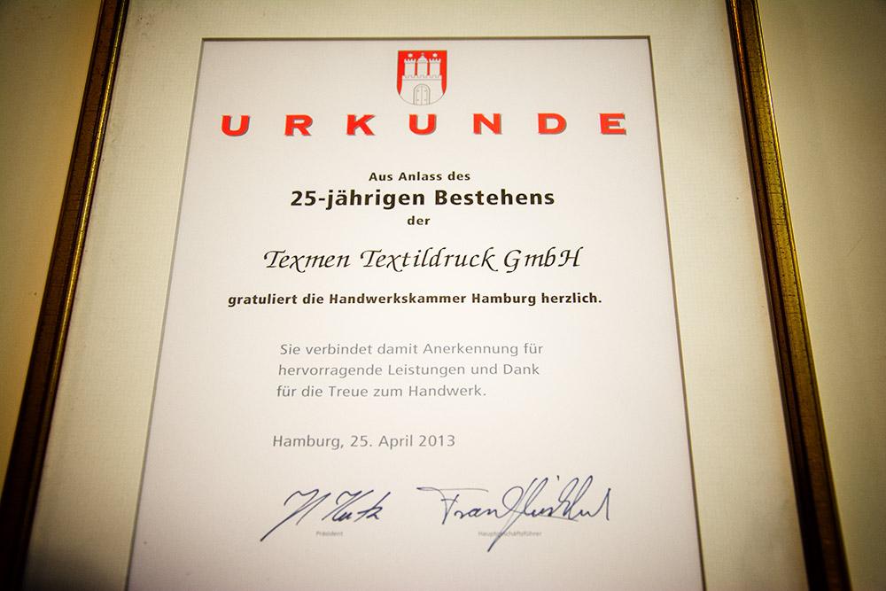 25 Jahre Texmen, Urkunde Handwerkskammer.